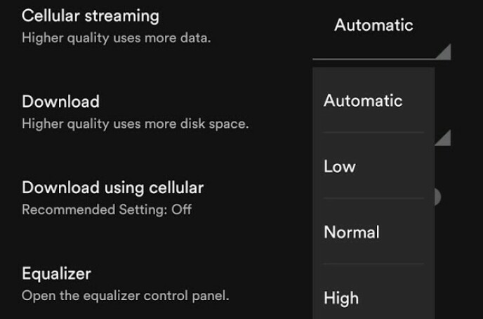 I Spotify-appen kan du regulere strømmekvaliteten når du er koblet til mobilnettet. Foto: Pål Joakim Pollen