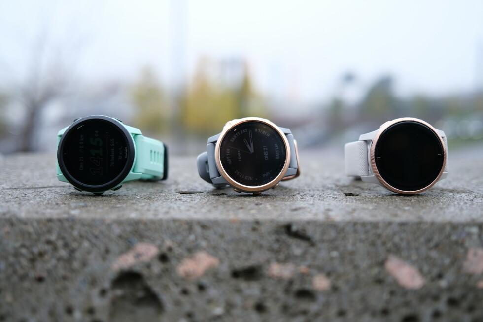 Fra venstre: Forerunner 745, Fenix 6s og Venu. Foto: Martin Kynningsrud Størbu