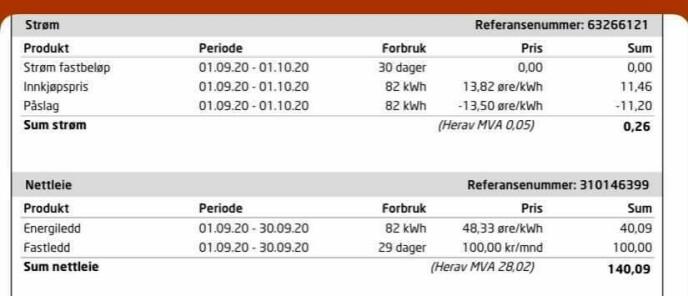 STRØMREGNINGA - KORT FORKLART: Her ser du et eksempel på hvordan strømregninga ser ut med både spotpris og nettleie. Flere strømselskap har et månedlig fastbeløp (som er 0 kroner i eksempelet over). Innkjøpsprisen er et gjennomsnitt fra hele måneden. Påslaget er en ekstra kostnad strømselskapet legger på toppen av innkjøpsprisen (negativt påslag i dette tilfellet pga. kampanjetilbud). Nettleia kommer i tillegg og bestemmes ikke av strømselskapet - og det er heller ikke mye forhandlingsrom for forbruker når det gjelder nettleie. Foto: skjermdump