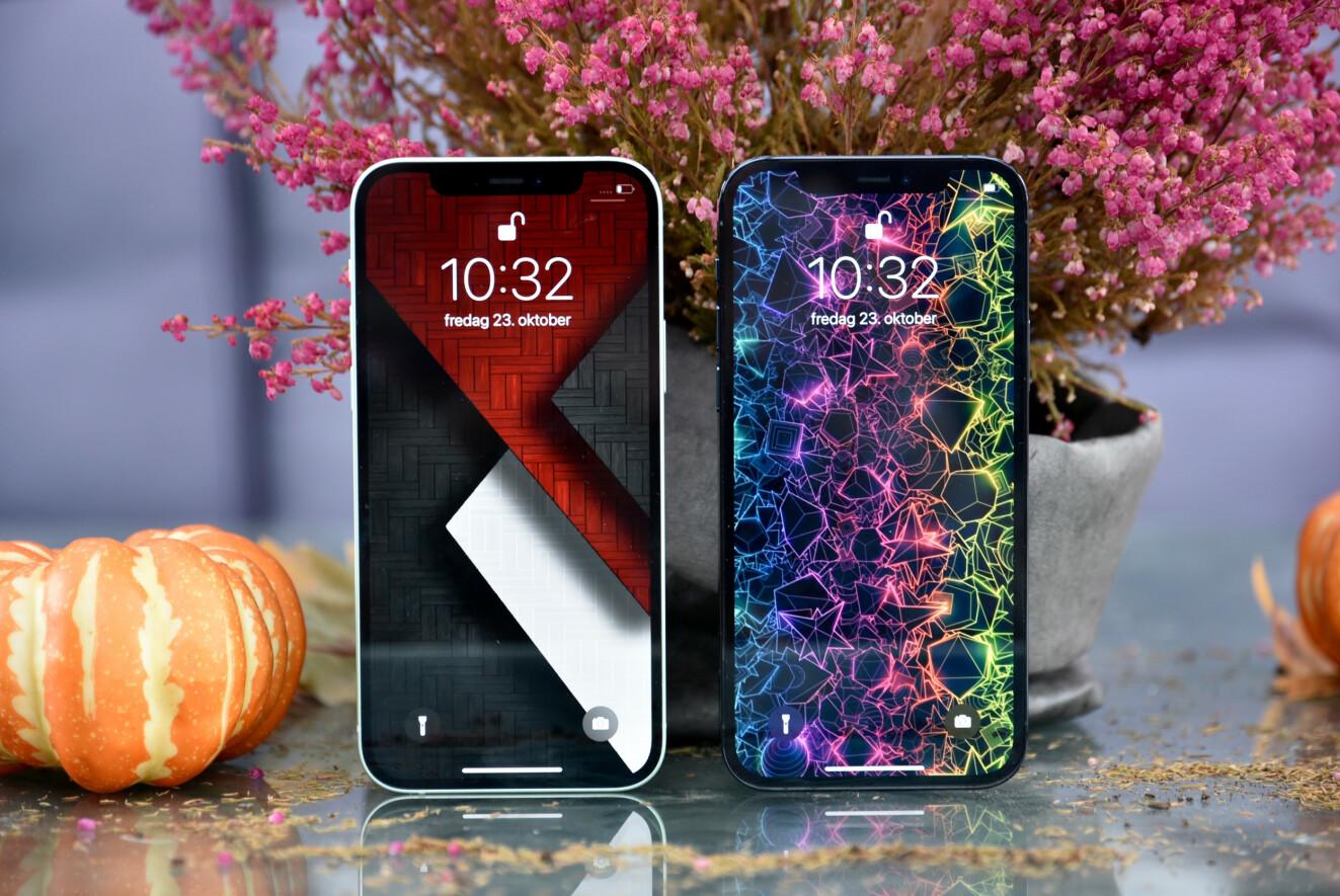 DOBBEL AMOLED: Både 12 og 12 Pro har Amoled-skjermer med dypt sortnivå og flotte farger, men vi savner sårt høyere bildefrekvens enn 60 Hz, som så og si alle Apples konkurrenter nå har både på toppmodellene og rimeligere modeller. Foto: Pål Joakim Pollen