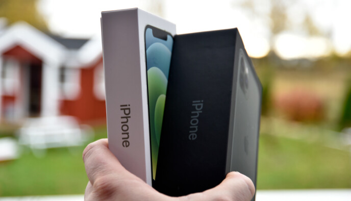 TYNNERE: Så mye slankere har iPhone-esken blitt når den nå selges uten ladekloss og ørepropper. Foto: Pål Joakim Pollen