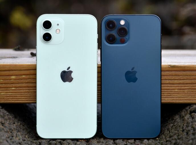 SMÅ FORSKJELLER: Under ser du hva som skiller iPhone 12 og 12 Pro. Foto: Pål Joakim Pollen