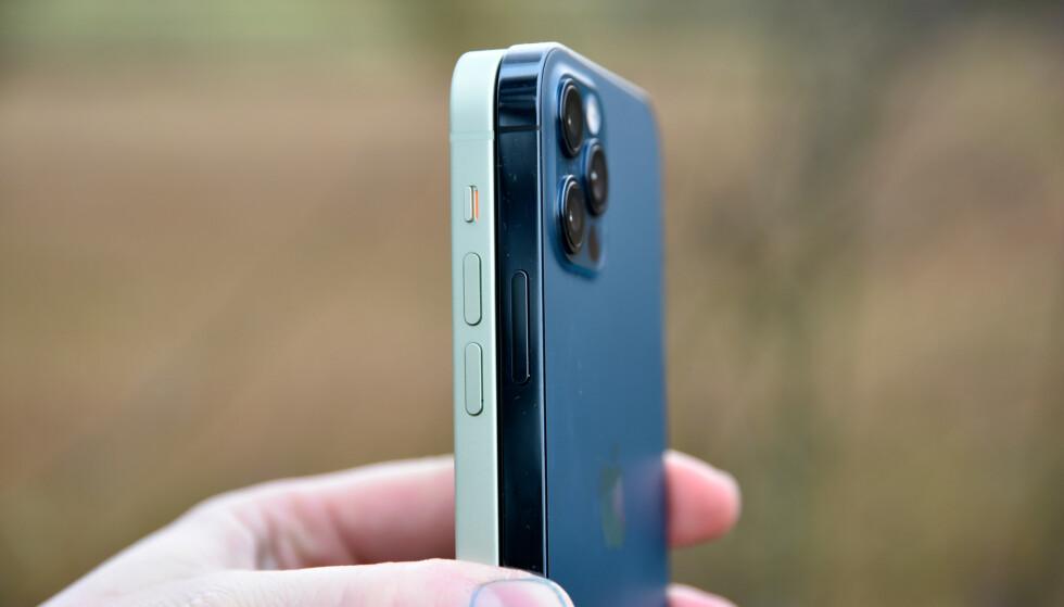 TVILLINGER: iPhone 12 og 12 Pro er akkurat like store og deler også veldig mye ellers. Foto: Pål Joakim Pollen