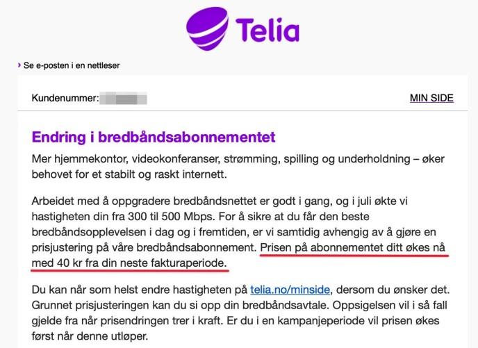 """VARSLET PÅ E-POST: Telia har sendt ut e-post til kundene hvor de informerer om """"endringer i bredbåndsabonnementet"""". Skjermbilde: Dinside.no"""