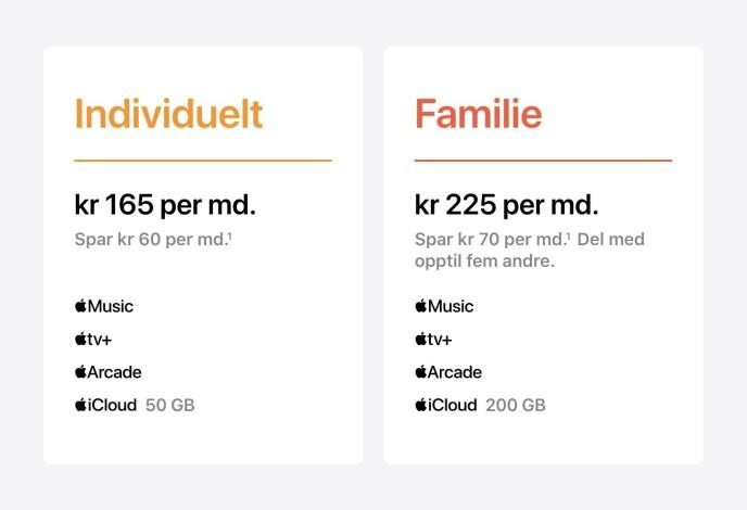 NORSKE PRISER: Her er de to alternativene norske Apple-kunder kan velge mellom når Apple One lanseres. Skjermbilde: Apple.no