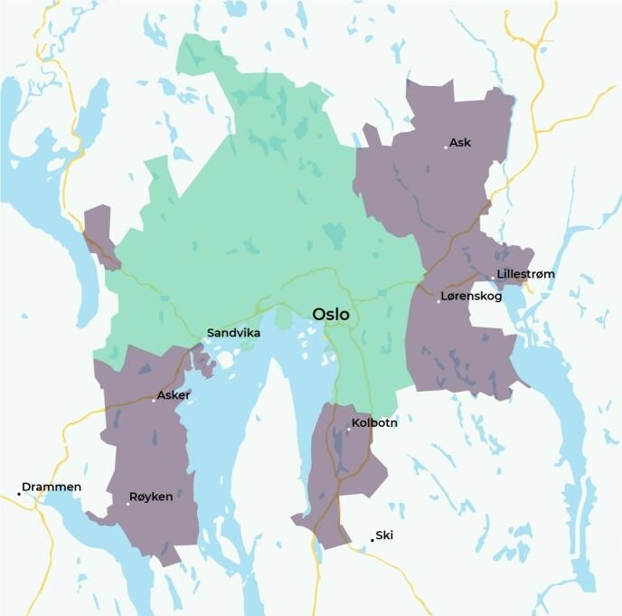 HIT, MEN IKKE LENGRE: Amoi leverer til to soner i og utenfor hovedstaden. Sone 1 er markert med blågrønt, sone to med lilla. Foto: skjermdump.