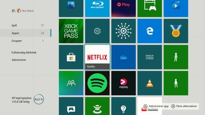 Netflix, Spotify og YouTube er noen av appene som er tilgjengelig.