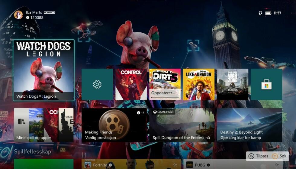 Xbox Series X har samme menyene som Xbox One. Det gjør at plattformene forenes, men for gamle kunder oppleves det ikke som noe nytt.
