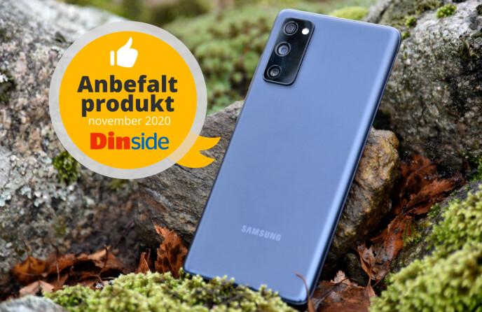 Samsung Galaxy S20 FE 5G får Dinsides anbefalt produkt-utmerkelse. Foto: Pål Joakim Pollen