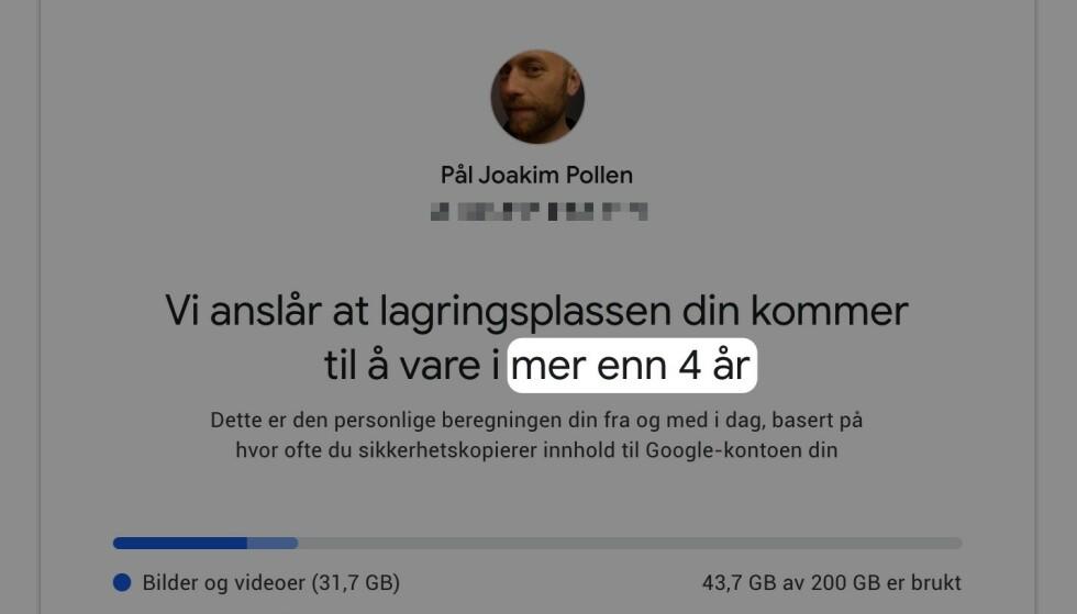 Google har laget en nettside som viser hvor lang tid de forventer at du vil bruke på å fylle plassen du har. Skjermbilde: Pål Joakim Pollen