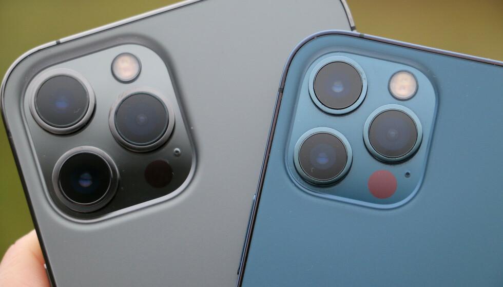 STØRRE: Du kan se at kameraene er større på iPhone 12 Pro Max sammenlignet med den mindre utgaven. Foto: Kirsti Østvang