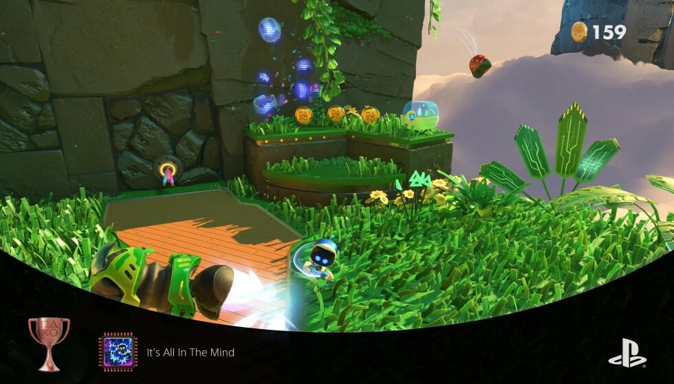 Astro's Playroom er et fornøyelig plattformspill som virkelig får håndkontrollen til å skinne. Det kommer ferdig installert på PS5 så du har noe å kose deg med mens du laster ned andre spill. Skjermbilde: Pål Joakim Pollen