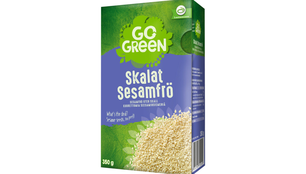 STOPPER SALGET: GoGreen Skalat Sesamfrö 350g tilbakekalles fra markedet. Foto: Produsenten