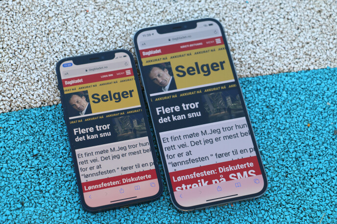 MINST OG STØRST: iPhone 12 mini vs. iPhone 12 Pro Max. Foto: Kirsti Østvang