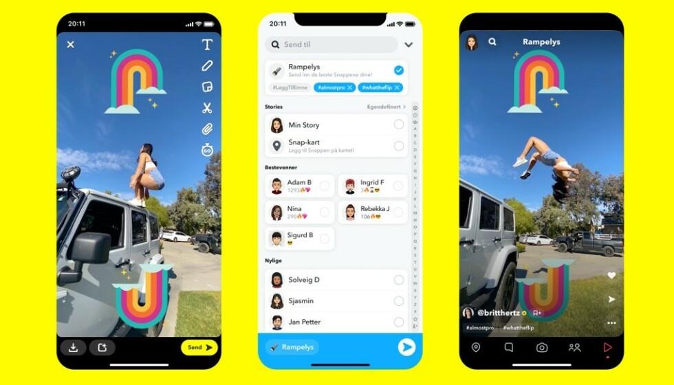 I RAMPELYSET: Snapchat lanserer en ny funksjon som minner om TikTok. Foto: Snap. Inc
