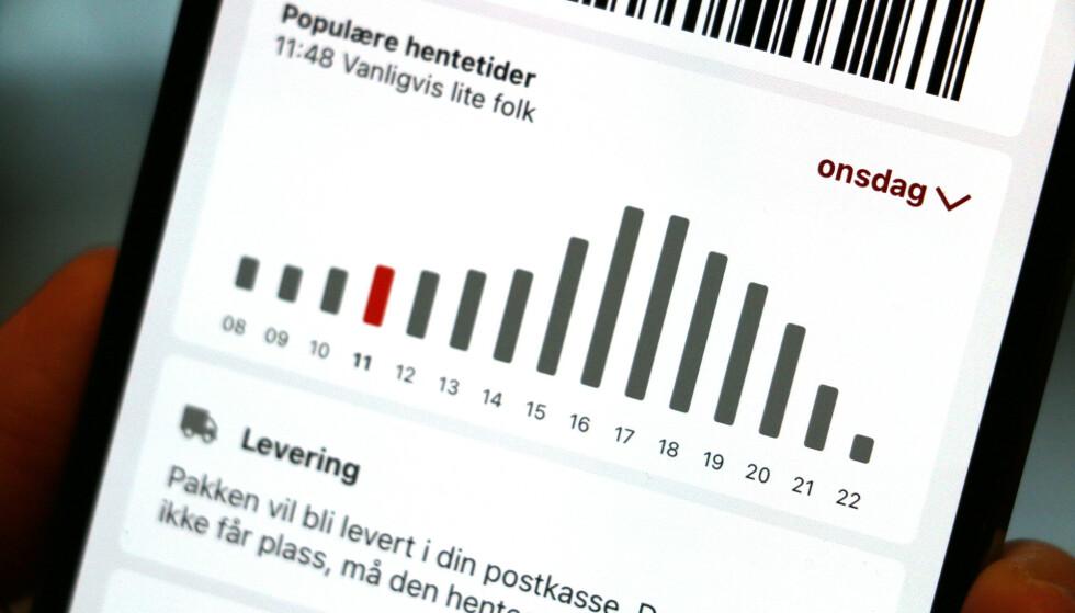SJEKK DETTE: Posten har lansert en ny funksjon i sin app hvor du kan se når folk vanligvis henter pakker. Foto: Kirsti Østvang