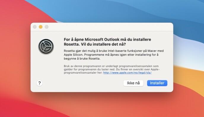 Intel-app? Først må du installere Rosetta.