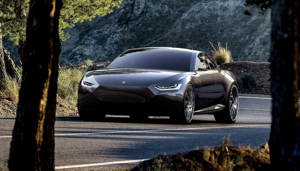 MOT TESLA: Revierie skulle bli en elegant luksusbil. Den skulle slå Tesla både på akselerasjon, rekkevidde og toppfart. Bilde: Fresco Motors