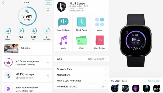 GOD APP: Fitbit-appen er blant de bedre appene i denne sjangeren, selv om selve klokke-administreringen kunne vært enklere. Å bytte urskive synes vi går altfor tregt. Skjermbilde: Kirsti Østvang