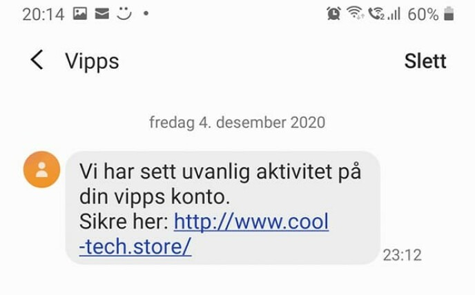 BARE LURERI: Dårlig norsk og en tvilsom URL avslører dette svindelforsøket rettet mot Vipps-brukere.