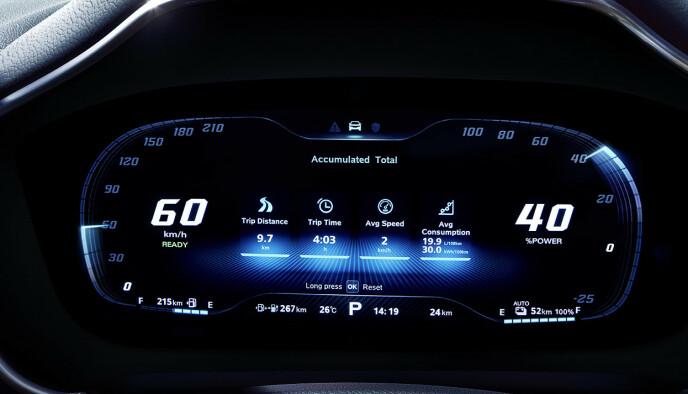 BMW-INSPIRERT: De utvendige målerne kjenner vi igjen fra BMW: Vi liker måten kjørecomputeren kan vise data på. Foto: MG