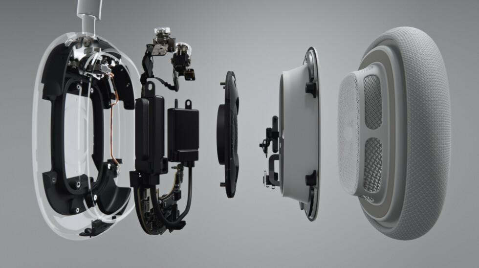 Apple viser hvordan AirPods Max er bygget opp.