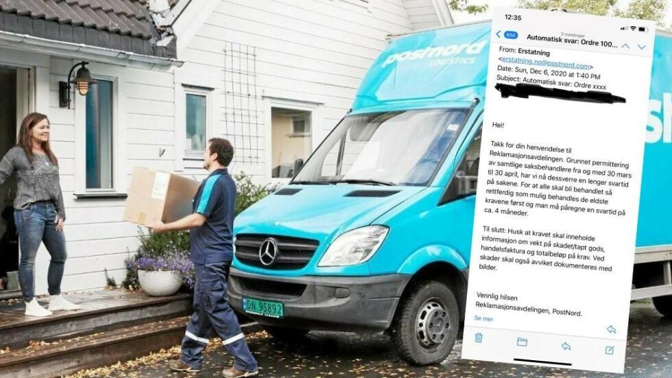 GAMMELT AUTOSVAR, SAMME TIDSBRUK: Det er fortsatt opp mot fire måneder ventetid hos PostNords reklamasjonsavdeling. De har noen råd til de som ikke har fått pakken de venter på eller har mottatt skadet pakke. Illustrasjonsbilde: PostNord/skjermdump