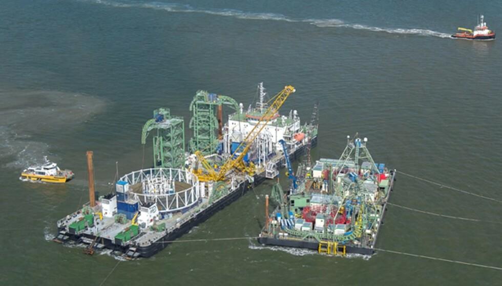 NORDLINK: Kabelskip har i flere år jobbet med å strekke Nordlink-kabelen mellom Norge og Tyskland. Foto: Statnett
