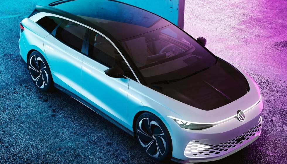 ENDELIG ELEKTRISK STASJONSVOGN: Mange familier kunne hatt godt av en stasjonsvogn i elektrisk utgave. Nå ser det ut til at Volkswagen skal bli først, med ID Space Vizzion - som muligens kan få navnet ID.6 når den kommer i 2023. Illustrasjon: Volkswagen