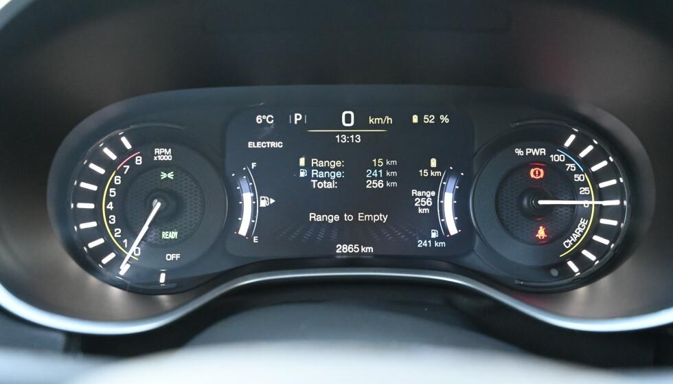 ANALOGT: Men man har faktisk en 7-tommer skjerm i midten som har en merkelig tankmåler som viser total kjørelengde og en bensintank. Og siden batteriet gir så få kilometer, viser de omtrent det samme hele tiden. Foto: Rune M. Nesheim