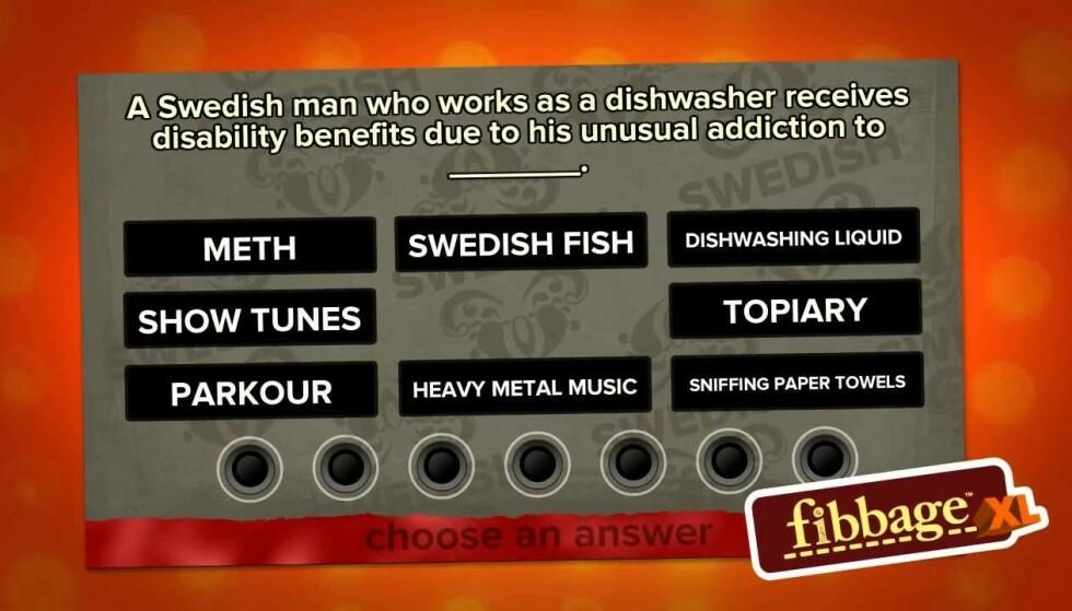 Fibbage er en digital utgave av brettspillet Kokkelimonke.