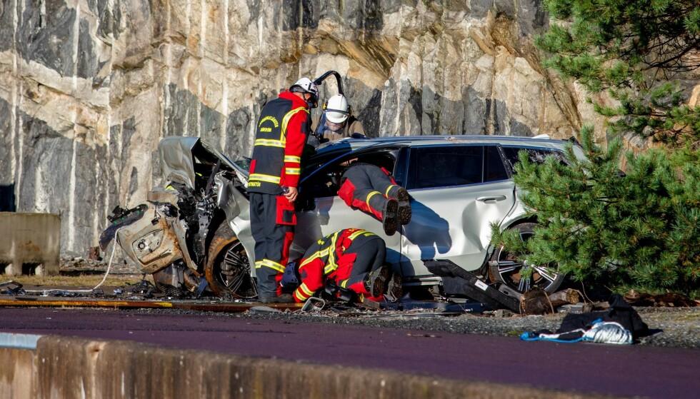 ALVORLIG ULYKKE: Kollisjonstestene simulerer en alvorlig ulykke på veien, der en personbil for eksempel kolliderer med en lastebil. Foto: Volvo