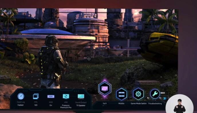 Den nye Game bar-funksjonen lar deg regulere ting som bildeaspekt, lydkilde, HDR, bildefrekvens og den slags. Foto: Samsung/YouTube