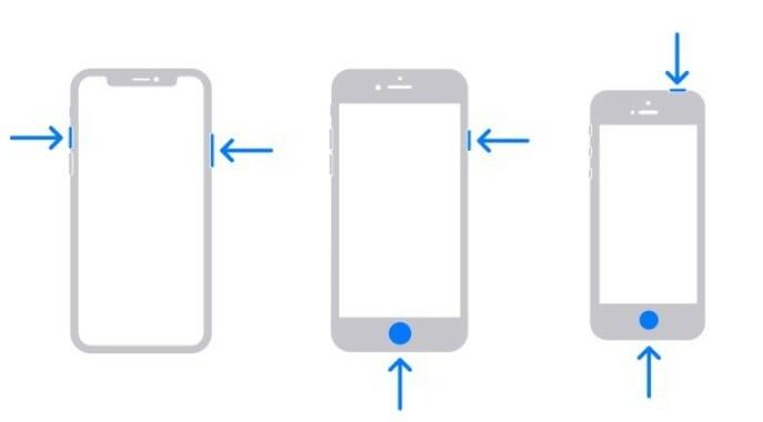SLIK TAR DU SKJERMBILDE: Her trykker du for å ta skjermbilde på de ulike iPhone-modellene. Foto: Apple