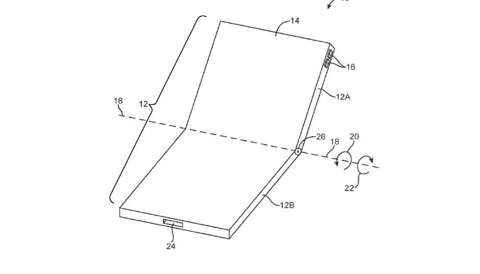 PATENT: Apple har søkt om patent på en skjerm som kan brettes. Foto: Apple