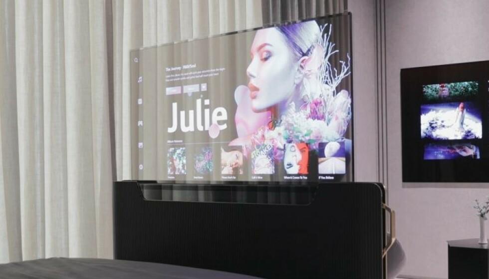 GJENNOMSIKTIG SKJERM: LG Displays nye OLED-panel er 40 prosent gjennomsiktig. LG Display