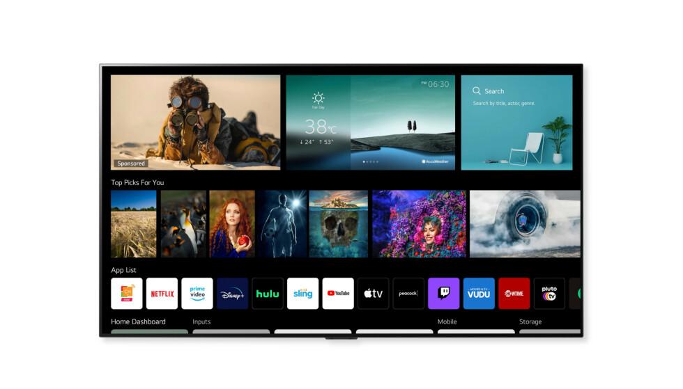 Slik blir brukergrensesnittet på LGs 2021-TV-er. Foto: LG