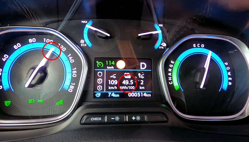 Høy hastighet svelger batterikapasitet. I denne farta er batteriet tomt på under en time, eller drøyt 10 mil. Foto: Rune M. Nesheim