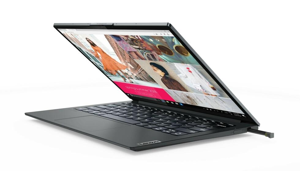 Lenovo ThinkBook Plus Gen 2 ser ut som en vanlig bærbar PC, men i topplokket skjuler det seg noe spesielt. Foto: Lenovo