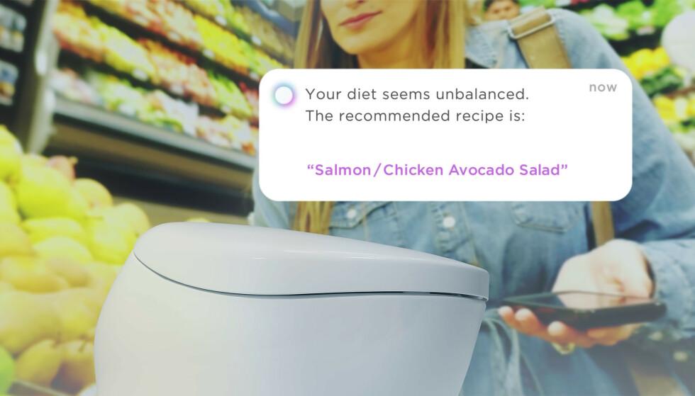 TIPS: Wellness Toilet kan avsløre kostholdet ditt og gir deg tips til andre ting å spise: Foto: Toto