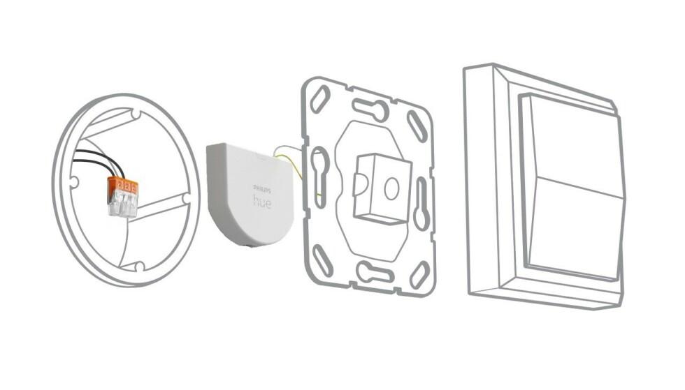 WALL SWITCH MODULE: Slik installeres veggmodulen, på innsiden av lysbryteren. Foto: Signify