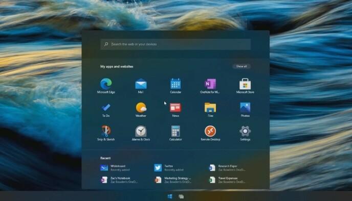 WINDOWS 10X: Slik er den nye startmenyen. Foto: Skjermdump/Windows Central