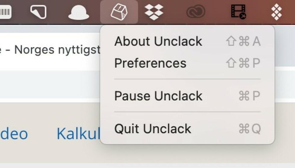 Unclack-ikonet får en rød prikk mens mikrofonen er dempet.