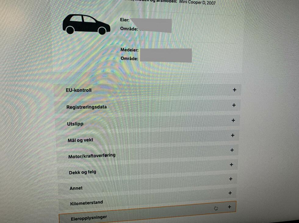 Klikk på kjøretøyopplysninger. Foto: Øystein B. Fossum
