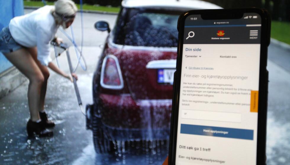 ENKELT: Ser du en bil og vil vite hvem eieren er, kan du bare klikke deg inn på «din side» på Vegvesen.no. Der kan du også se hvem som har eid bilen tidligere. Foto: Øystein B. Fossum