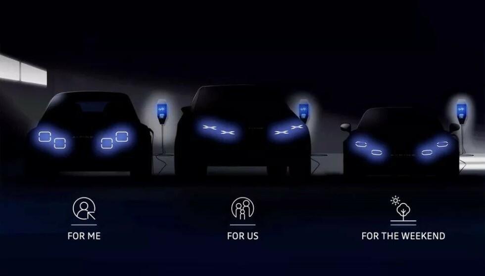 TRE ELEKTRISKE: Renaults legendariske sportsbilmerke Alpine skal bli helelektrisk. Heldigvis skal de fortsatt være sporty,