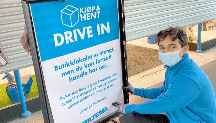 LEVERING I BILEN: Biltema har god erfaring med levering rett i bilen, og tilbyr dette også fra varehusene hvor butikklokalene nå er stengt. Foto: Monica Videm/Biltema
