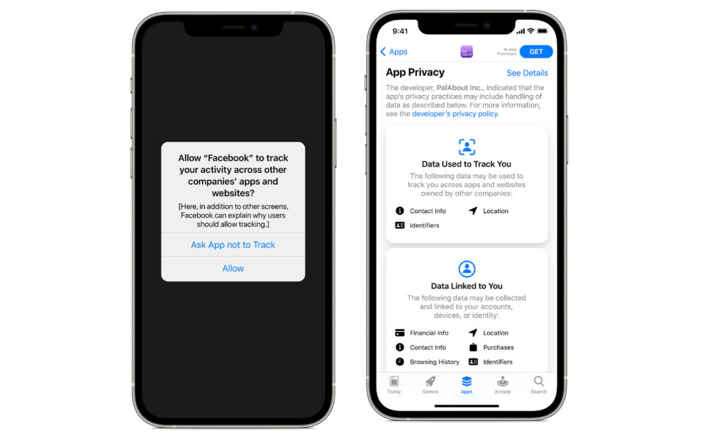 MÅ SPØRRE: Når neste iOS-versjon, 14.5, kommer, må apper som sporer deg be om din tillatelse først. Foto: Apple