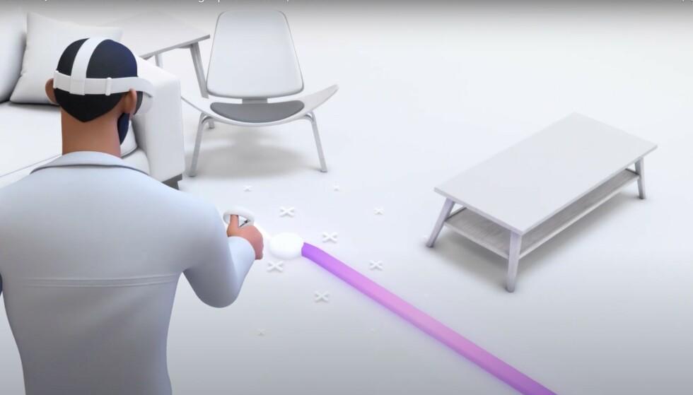 Ved å tegne opp grensene i rommet, slipper du å snuble i bordet når du ikke ser utsiden av VR-brillene. Foto: Oculus