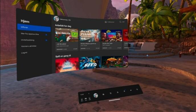 Dette er «hjemskjermen» - herfra kan du shoppe spill, starte spill, endre innstillinger og så videre. Foto: Pål Joakim Pollen